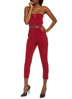 Strapless Pleated Jumpsuit - BURGUNDY - 1410069396705