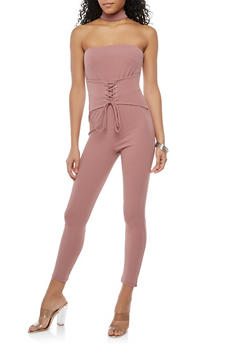 Lace Up Waist Choker Neck Jumpsuit - 1410069396876