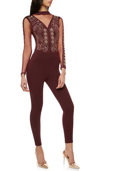 Studded Mesh Catsuit - 1410069396882