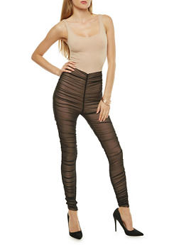 Ruched Mesh Jumpsuit - 1410069396891