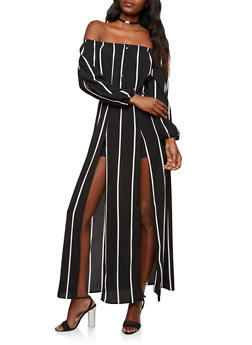 Striped Off the Shoulder Romper with Maxi Skirt Overlay - 1410069396903