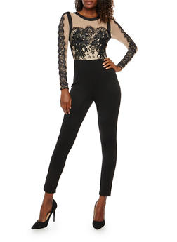 Mesh Top Jumpsuit with Lace and Crochet Detail - 1410069396916