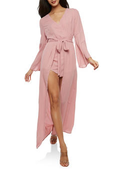 Faux Wrap Romper with Maxi Skirt Overlay - 1410069396965