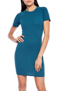 Textured Short Sleeve Bodycon Dress,JADE,medium