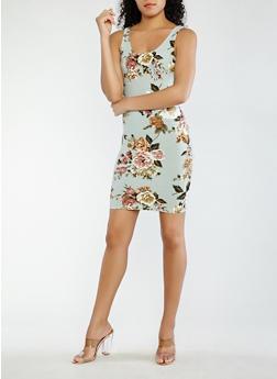 Floral Bodycon Dress - 1410069397407