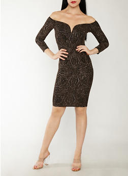 Glitter Off the Shoulder Dress - 1410069399500