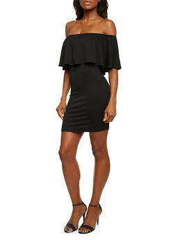 Off The Shoulder Ruffle Dress - BLACK - 1410069552786