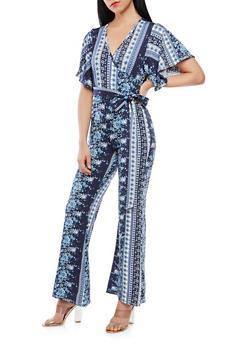 Printed Faux Wrap Jumpsuit - 1410072241055