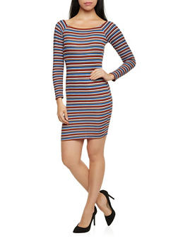 Off the Shoulder Mini Dress with Stripes - 1410072241352