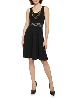 Sleeveless Skater Dress with Lace Cutout Waist - BLACK - 1410072241372