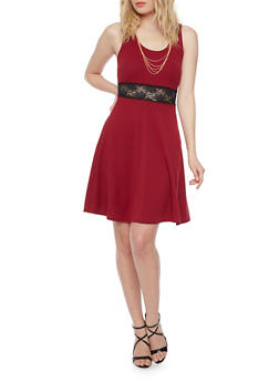 Sleeveless Skater Dress with Lace Cutout Waist - 1410072241372