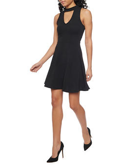 Soft Knit Keyhole Skater Dress - BLACK - 1410072241389