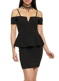 Cold Shoulder Peplum Mini Dress - BLACK - 1410072241401