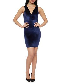 Velvet V Neck Mini Dress with Choker Necklace - 1410072241414