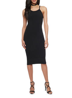 Textured Spaghetti Strap Bodycon Dress with Faux Suede Choker - BLACK - 1410072241450