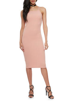 Textured Sleeveless Bodycon Dress with Faux Suede Choker - 1410072241450