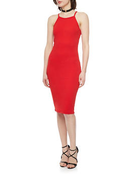 Textured Spaghetti Strap Bodycon Dress with Faux Suede Choker - 1410072241450