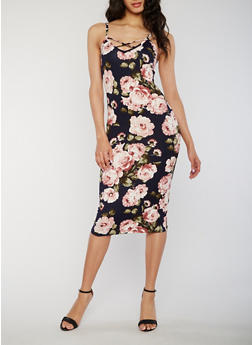 Sleeveless Caged Floral Bodycon Dress - NAVY  SE40528 - 1410072241656