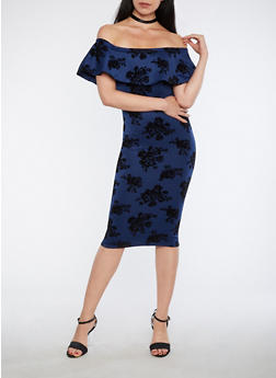 Off the Shoulder Velvet Floral Print Dress - 1410072242044
