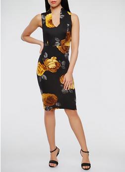 Floral Soft Knit Bodycon Dress - 1410072242383