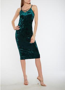 Crushed Velvet Caged Neck Bodycon Dress - 1410072242656