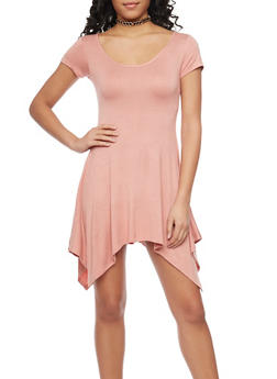 Asymmetrical Mini T Shirt Dress with Choker - 1410072248298