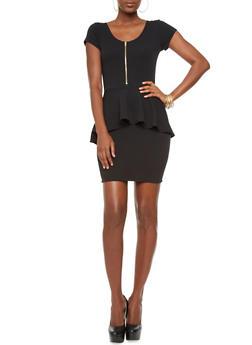 Cap Sleeve Zip Front Peplum Dress,BLACK,medium