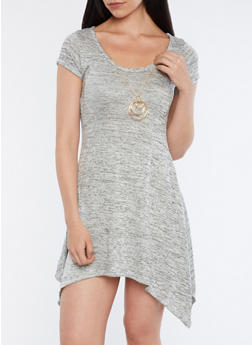 Marled Asymmetrical Skater Dress with Necklace - 1410072249829