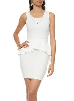 Sleeveless Textured Knit Peplum Dress with Detachable Necklace,IVORY,medium