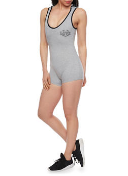 Hooded Love Graphic Romper - HEATHER - 1410072294871