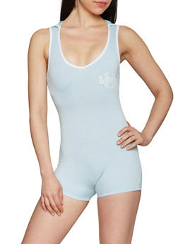 Hooded Love Graphic Romper - BABY BLUE - 1410072294871