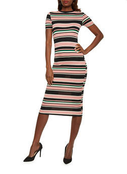 Multicolored Striped T Shirt Dress - 1410073136218