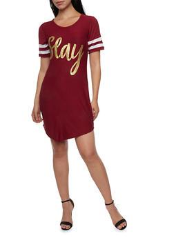 Varsity Stripe T Shirt Dress with Slay Graphic - 1410073300548