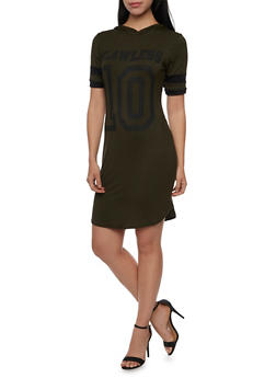 Hooded T Shirt Dress with Flawless Graphic - OLIVE/BLK - 1410073306128