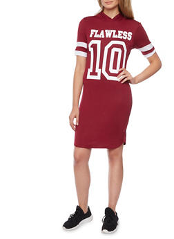 Hooded T Shirt Dress with Flawless Graphic - BURGUNDY/WHT - 1410073306128