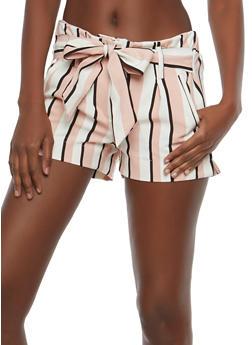 Striped Tie Waist Shorts - 1411056572260