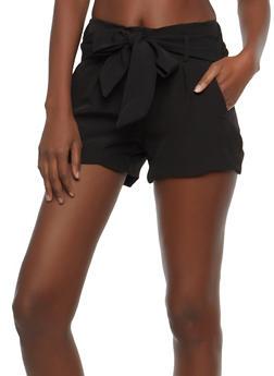 Scalloped Hem Tie Waist Shorts - 1411056573211