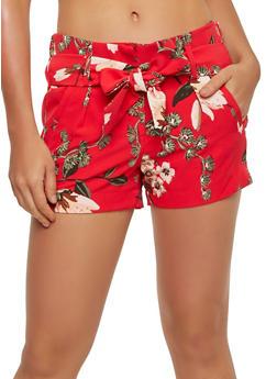 Floral Tie Waist Shorts - 1411056574264