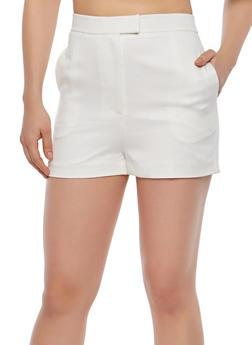 White Knit Shorts - 1411068195001