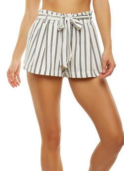 Striped Tie Waist Shorts - 1411069393041