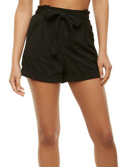 Belted Crepe Knit Shorts - 1411069393127