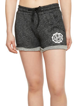 Drawstring Space Dye Graphic Love Shorts with Rolled Cuffs - 1411072290017