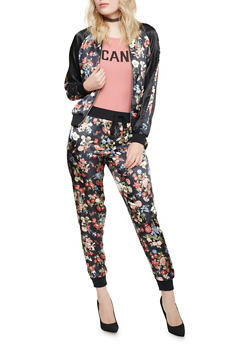 Bomber Jacket in Floral Print Satin - 1414015996076