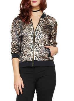 Bomber Jacket in Leopard Print Sateen - 1414015996092