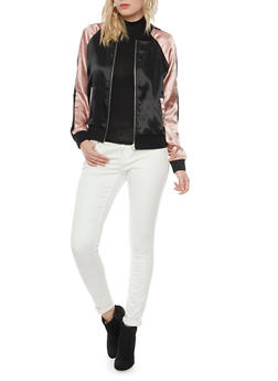 Color Block Bomber Jacket in Satin - 1414015996095