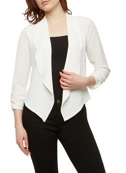 Crepe Knit Flyaway Blazer - WHITE - 1414054210477