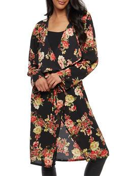 Tie Waist Floral Duster - 1414054211004