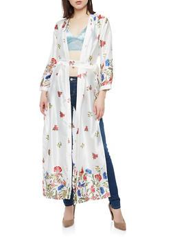 Floral Print Satin Kimono - 1414054211058