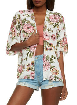 Short Sleeve Floral Open Front Cardigan - 1414061350191