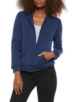 Zip Front Hooded Fleece Sweatshirt - 1414062700717